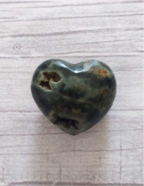 Jaspe Oceano (coração) com Geodo - 3cm