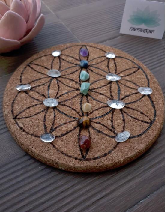 Grelha de Cristais - Alinhamento dos Chakras (Flor da Vida)