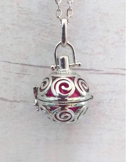 Chamador de Anjos com Espiral - esfera rosa (ref.: CA045)