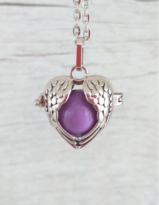 Chamador de Anjos (esfera violeta) - Asas de Anjo em Coração