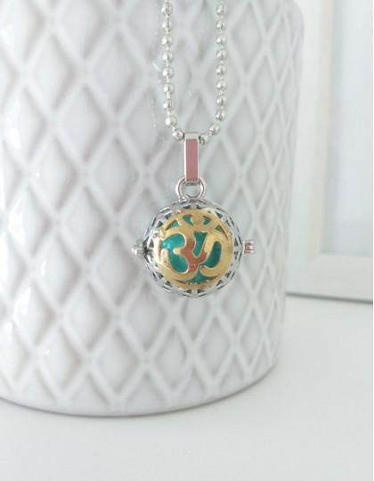 Chamador de Anjos com Om - esfera turquesa (ref.: CA105)
