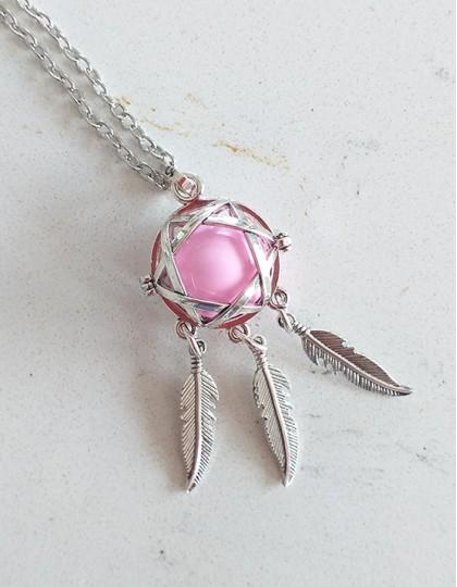Chamador de Anjos com Caça-Sonhos - esfera rosa (ref.: CA130)