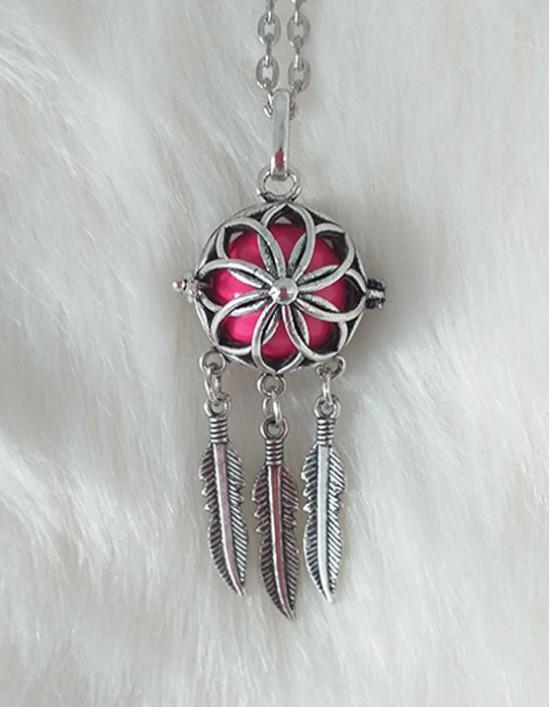 Chamador de Anjos com Caça-Sonhos - esfera rosa (ref.: CA133)