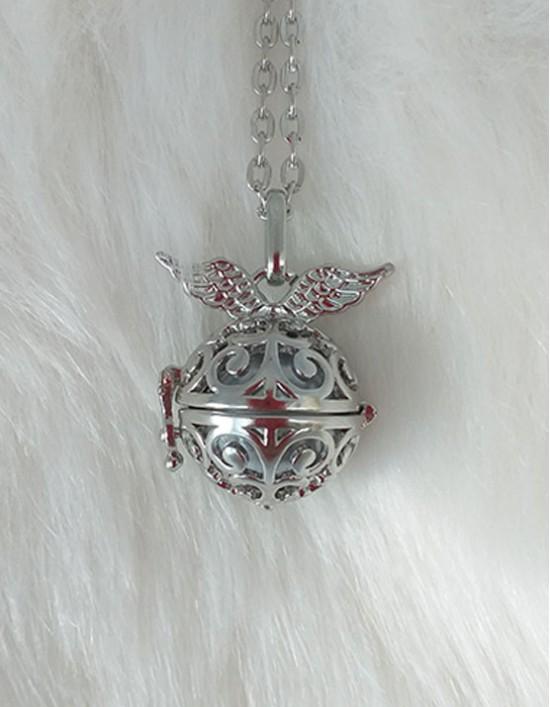 Chamador de Anjos com Asas - esfera prateada (ref.: CA135)
