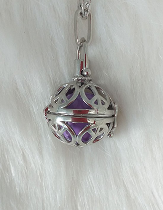 Chamador de Anjos com Símbolo da Paz e Amor - esfera branca (ref.: CA143)