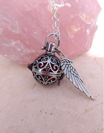 Chamador de Anjos com Asa - esfera vermelha (ref.: CA148)