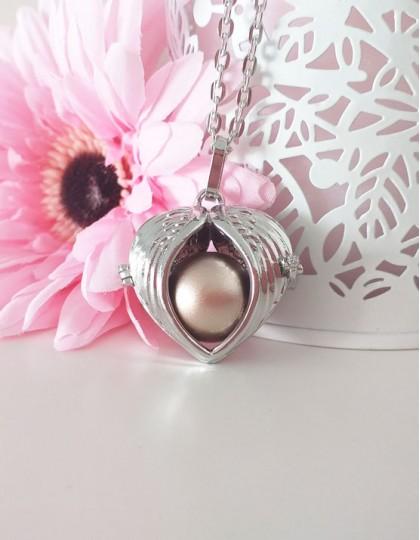 Chamador de Anjos em Coração com Asas - esfera dourada (ref.: CA150)