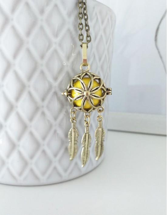 Chamador de Anjos com Caça-Sonhos - esfera amarela (ref.: CA189)