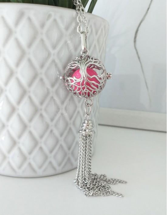 Chamador de Anjos com Árvore da Vida - esfera rosa (ref.: CA194)