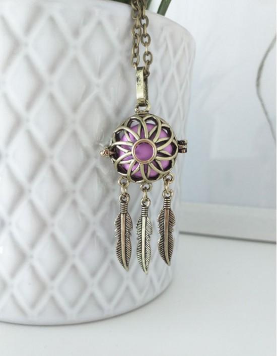 Chamador de Anjos com Caça-Sonhos - esfera violeta (ref.: CA195)