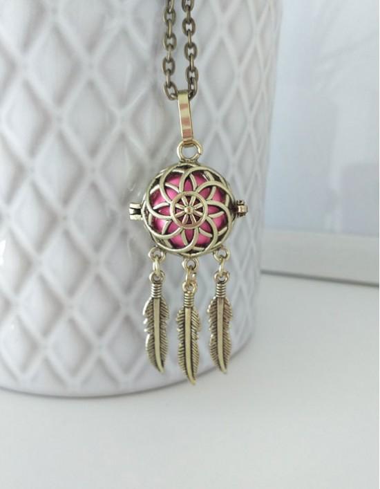 Chamador de Anjos com Caça-Sonhos - esfera rosa (ref.: CA199)