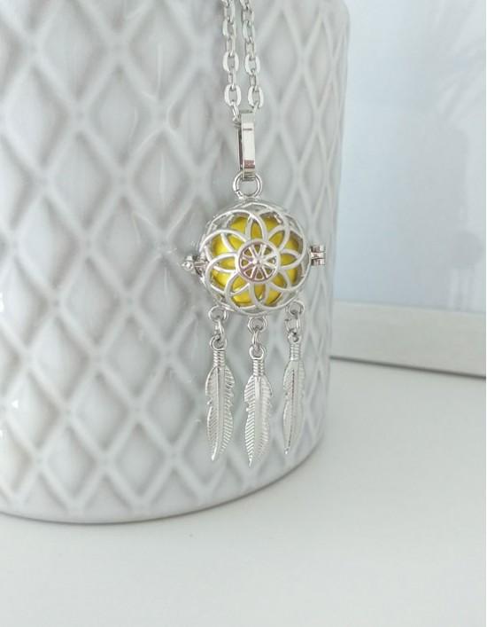 Chamador de Anjos com Caça-Sonhos - esfera amarela (ref.: CA200)