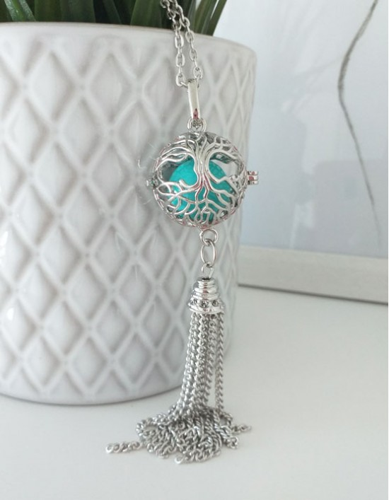 Chamador de Anjos com Árvore da Vida - esfera turquesa (ref.: CA177)