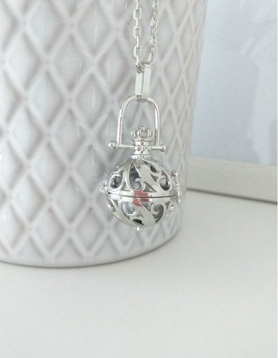 Chamador de Anjos - esfera prateada (ref.: CA208)