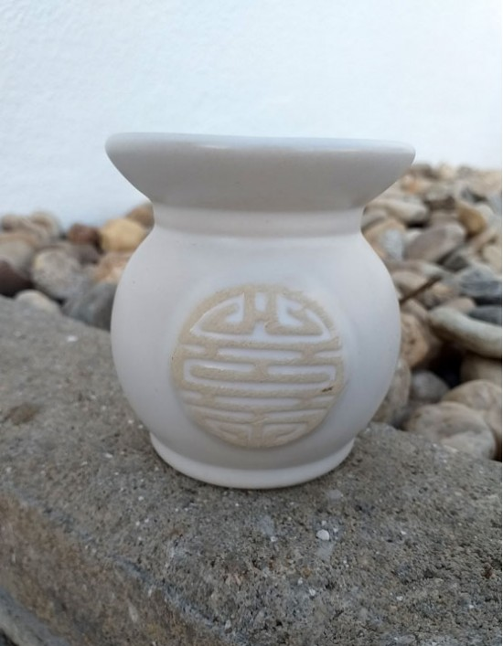 Queimador de Óleo - Símbolo Chinês da Sorte (Branco)