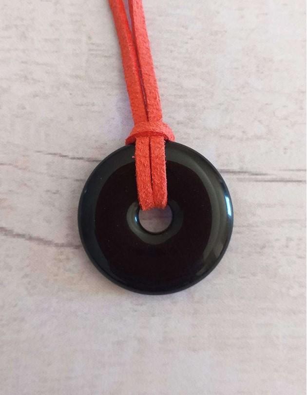 Colar com Pedra Pi - Obsidiana Negra