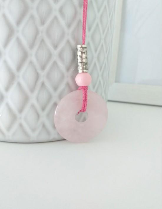 Colar com Pedra Pi (3cm) - Quartzo Rosa