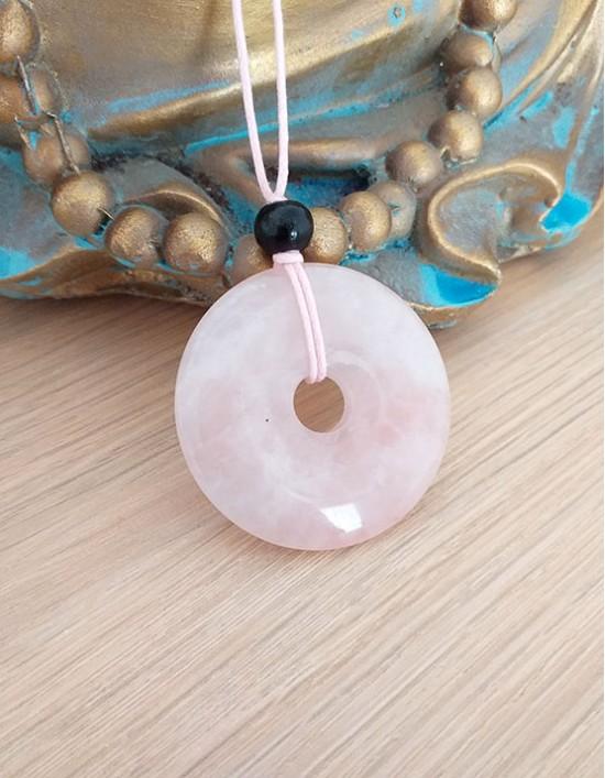 Colar com Pedra Pi (4cm) - Quartzo Rosa