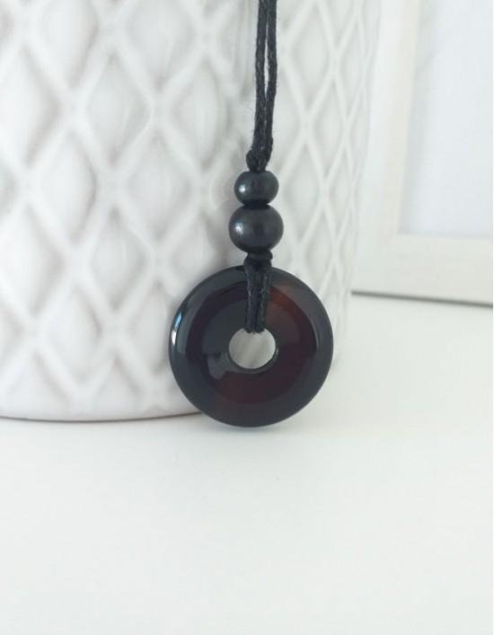 Colar com Pedra Pi (2.5cm) - Obsidiana Preta