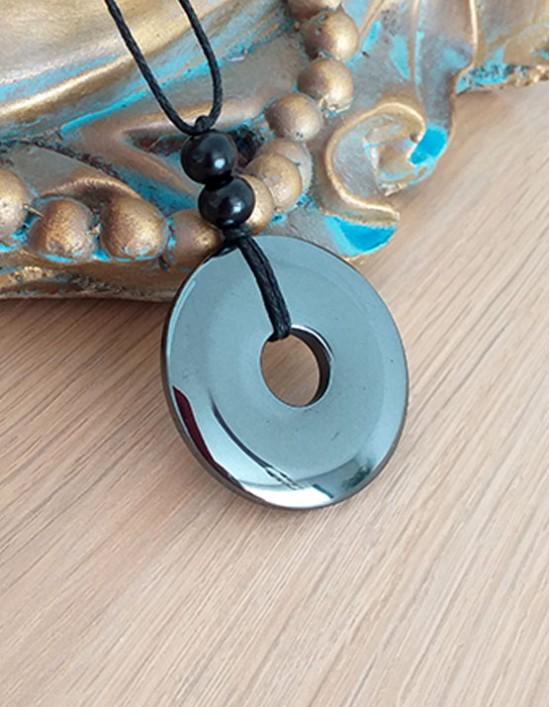 Colar com Pedra Pi (3.5cm) - Hematite