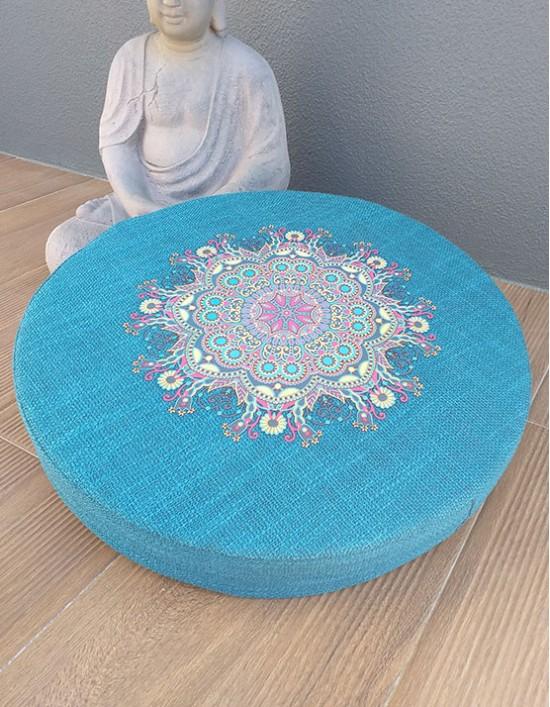 Zafu para Meditação - Mandala (Azul)
